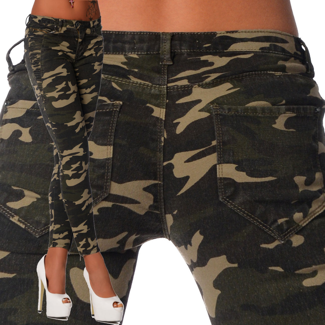 Sexy New Women's Setetchy Jeans Trousers Skinny Slim Army Military Print S 807