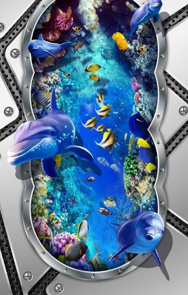 3D Peces Mar Piedra Piso impresión de parojo de papel pintado mural 6421 Calcomanía 5D AJ Wallpaper