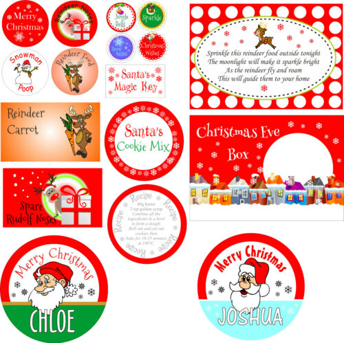Personalised /& customised Christmas stickers for sweets cakes biscuits