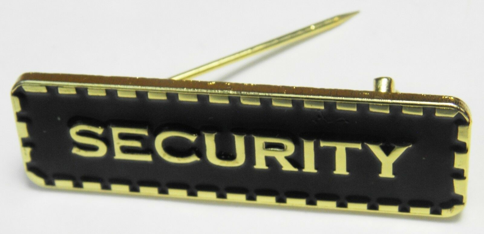 Security Lapel Pin Badge Black /& Gold Colour Sign Brooch