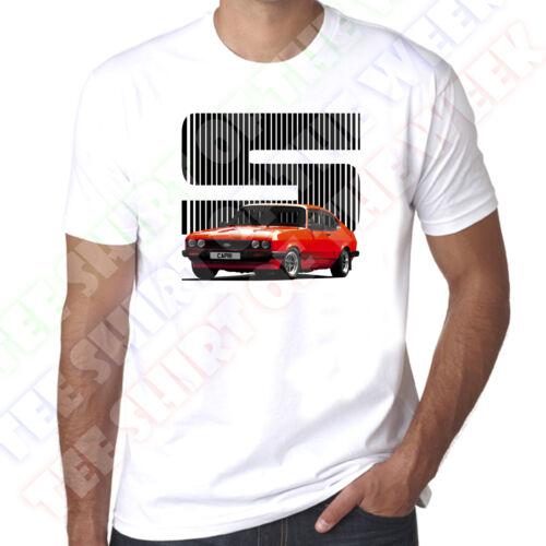 Red Ford Capri 2.0 3.0 S T-shirt blanc homme N personnalisé disponible plaque.