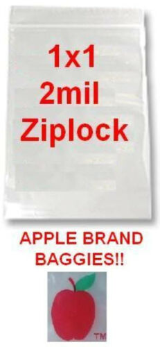 """1,000 APPLE BRAND BAGGIES 1x1 2mil CLEAR ZIPLOCK BAG 1000 1 1010 baggie 1/""""x1/"""" 1/"""""""