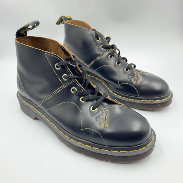 Dr. Martens Church Vintage Monkey Boots Leather Black AirWair AW501 Men's Size 9