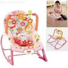 NEW Fisher-Price Infant To Toddler Bouncer Portable Rocker Pink Bunny Vibrating