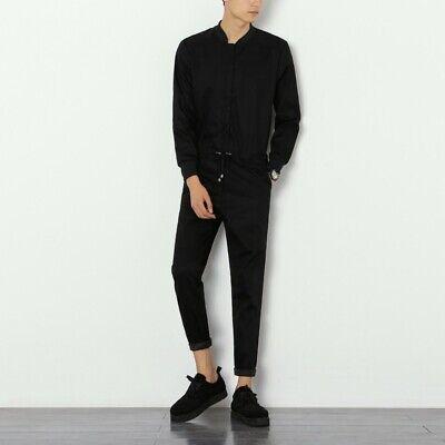 Mens Long Sleeve Zip Up Romper Jumpsuit Baseball Collar Playsuit Streetwear New