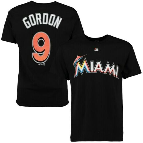 New Black Majestic Miami Marlins MLB Men/'s Gordon 9