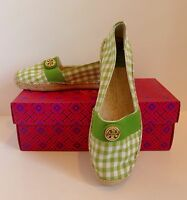 Tory Burch Espadrille Green Apple Leaf Gingham Beacher Flats 8.5