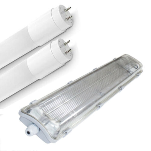 Set LED Hermetic Bath Lamp ip65 with 2x t8 LED 60cm g13 Office Lamp * NEW