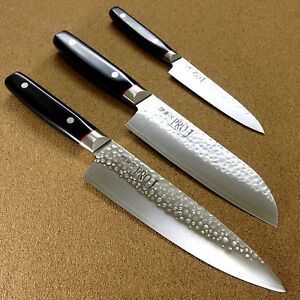 japanese pro j 3 sets kitchen knives utility chef 39 s santoku hammered seki japan ebay. Black Bedroom Furniture Sets. Home Design Ideas