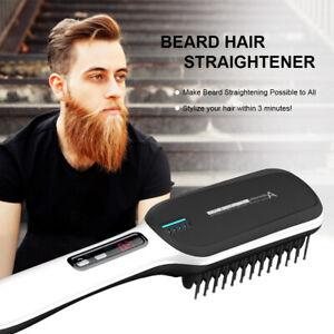 Men Beard Brush Straightener Quick Heated Hair Straightening Comb Anti Scald Lcd Ebay