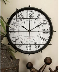 Rustic Industrial Vintage Wall Clock Iron Metal Wire