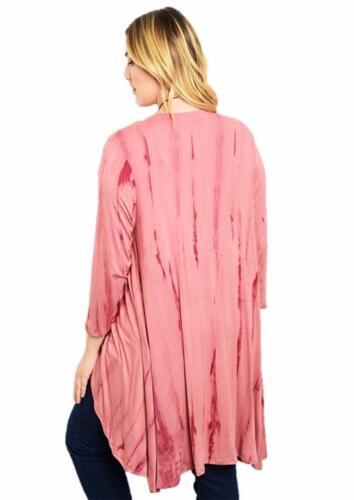 PLUS Pink Tie Dye Open Front Sharkbite Long Jersey Sweater Cardigan XL 1X 2X 3X