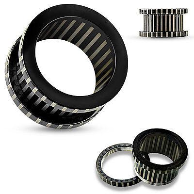 PAIR Striped Black Steel Screw Fit Tunnels Earlets Gauges Plugs Body Jewelry