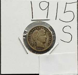 1915 S Barber Silver Dime Coin Choice Fine Circulated Condition