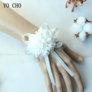 White foam rose artificial wedding wrist corsage bracelet bridal image is loading white foam rose artificial wedding wrist corsage bracelet mightylinksfo
