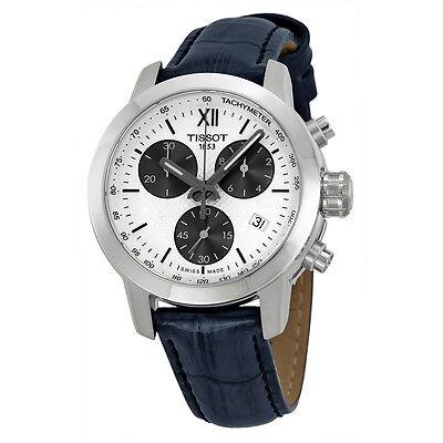 Tissot PRC200 Chronograph  Black Leather Mens Watch T0552171603800