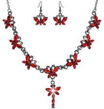 Schmetterling Straß SET ROT Collier Ohrringe Braut Kette Trachtenschmuck 4BR