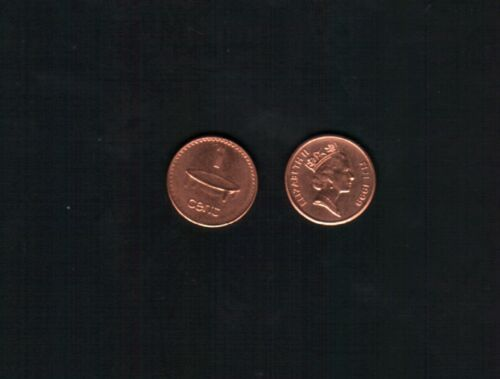 FIJI 1 CENT 1990-1999 QUEEN NATIVE ART UNC PACIFIC  MONEY COIN LOT X 100 PCS