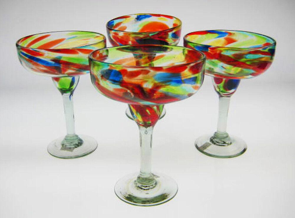 Mexican Margarita Glasses Confetti swirl, hand blown (4)