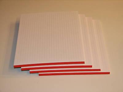 DIN A5 4 Schreibblöcke Schulhefte kariert* 80g//m² Block rot Schreibblock
