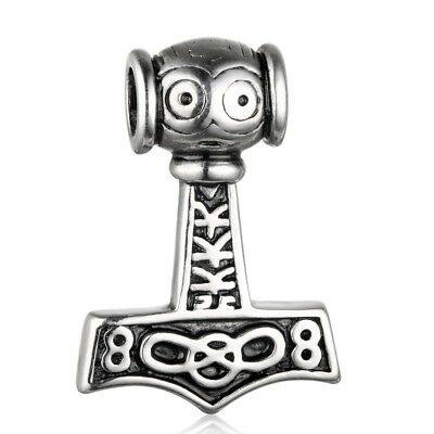 """Brillant Tribal Spirit Anhänger Edelstahl """"thor`s Hammer"""" Keltisch Wikinger Odin Mjölnir Reine WeißE"""