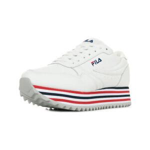 Chaussures-Baskets-Fila-femme-Orbit-Zeppa-Stripe-Wn-039-s-taille-Blanc-Blanche-Cuir