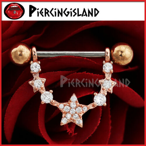 14g Surgical Steel Crystal Stars Nipple Shield Ring Bar Barbell Piercing Jewelry