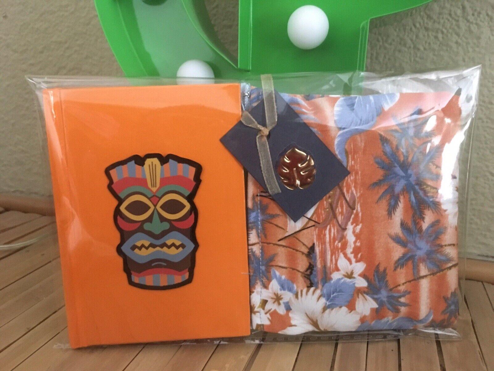 Retro Tiki God Hawaii Hardback Notebook +Hula Girl Hibiscus Purse 2pc Gift Set