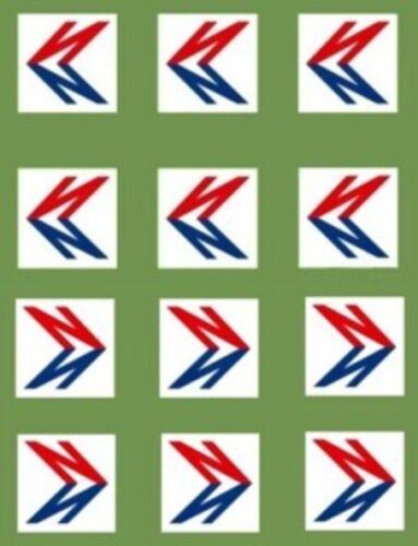 6 PR MODEL BUS WATERSLIDE TRANSFERS 1//76th NBC DOUBLE N LOGOS ON GREEN