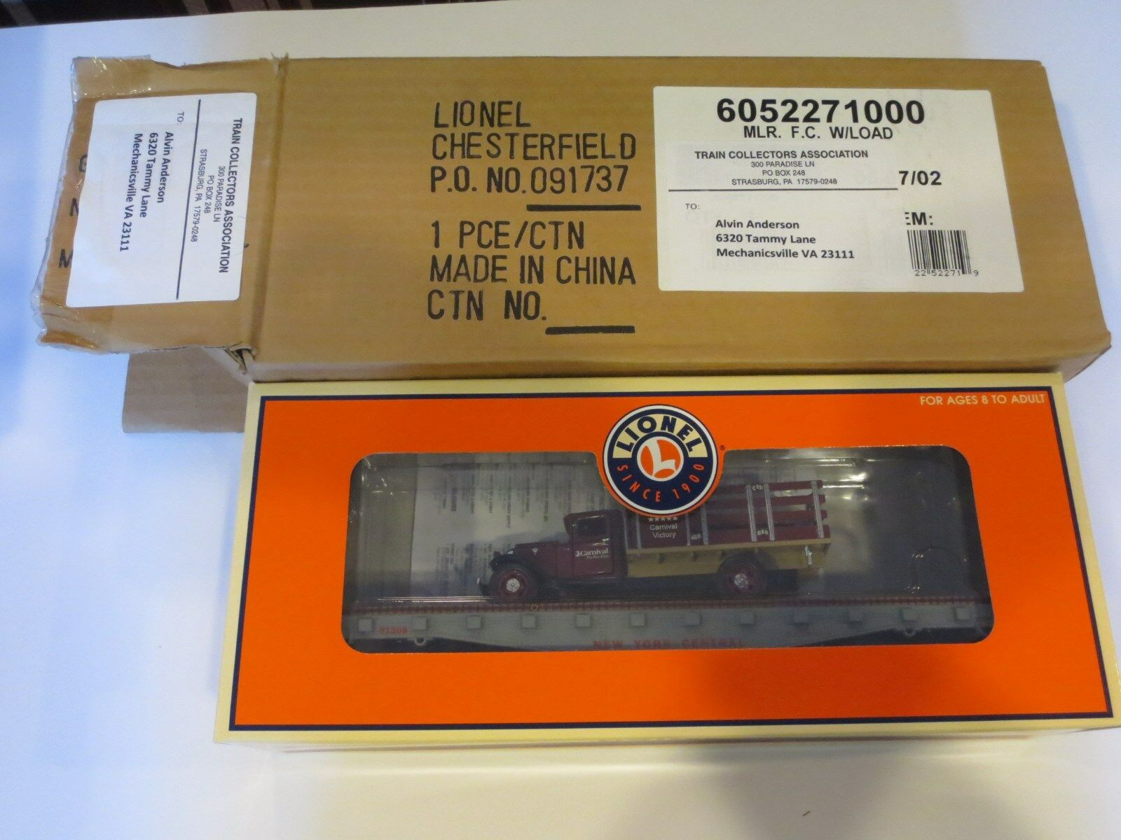RARE Lionel Trains 2008 TCA Legacy Cruise Flat Car w  Load Item Boxed  A