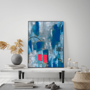 Original abstract painting textured 16X20 canvas contemporary acrylic ink pastel