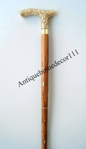 "Nautical Vintage Brass Designer Handle Wooden Walking Stick Cane 36/"" Long Gift.."