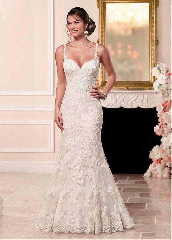 New white ivory lace Tailed Wedding dress Bridal Gown custom size custom made