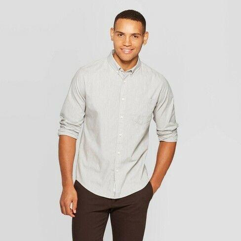 Goodfellow Gray  SM /& MED Men/'s Standard Fit Northrop Poplin Button~Down Shirt