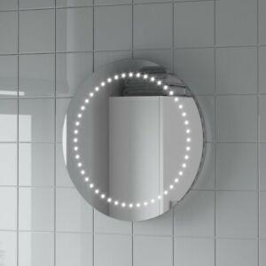 Round Led Illuminated Bathroom Mirror, Bathroom Battery Light