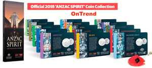 ALL IN STOCK 15 Coins with FOLDER Official 2018 ANZAC SPIRIT COIN Collection