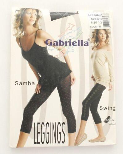 Marque Gabriella Leggings Capri 3//4 Swing nero//Silver noir//argent