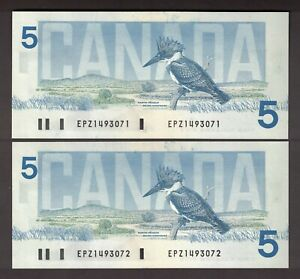 2-CONSECUTIVE-CANADA-1986-5-THIESSEN-CROW-BANKNOTES-SERIAL-EPZ1493071-2-GEM-UNC