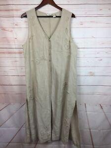 J-Jill-Linen-Long-Dress-Sleeveless-Beige-Front-Side-Slits-Open-Cover-Up-Size-L