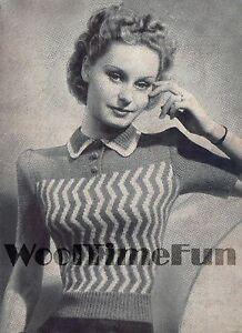 Vintage Knitting Pattern Lady/'s 1940s Striped Design Jumper//Sweater