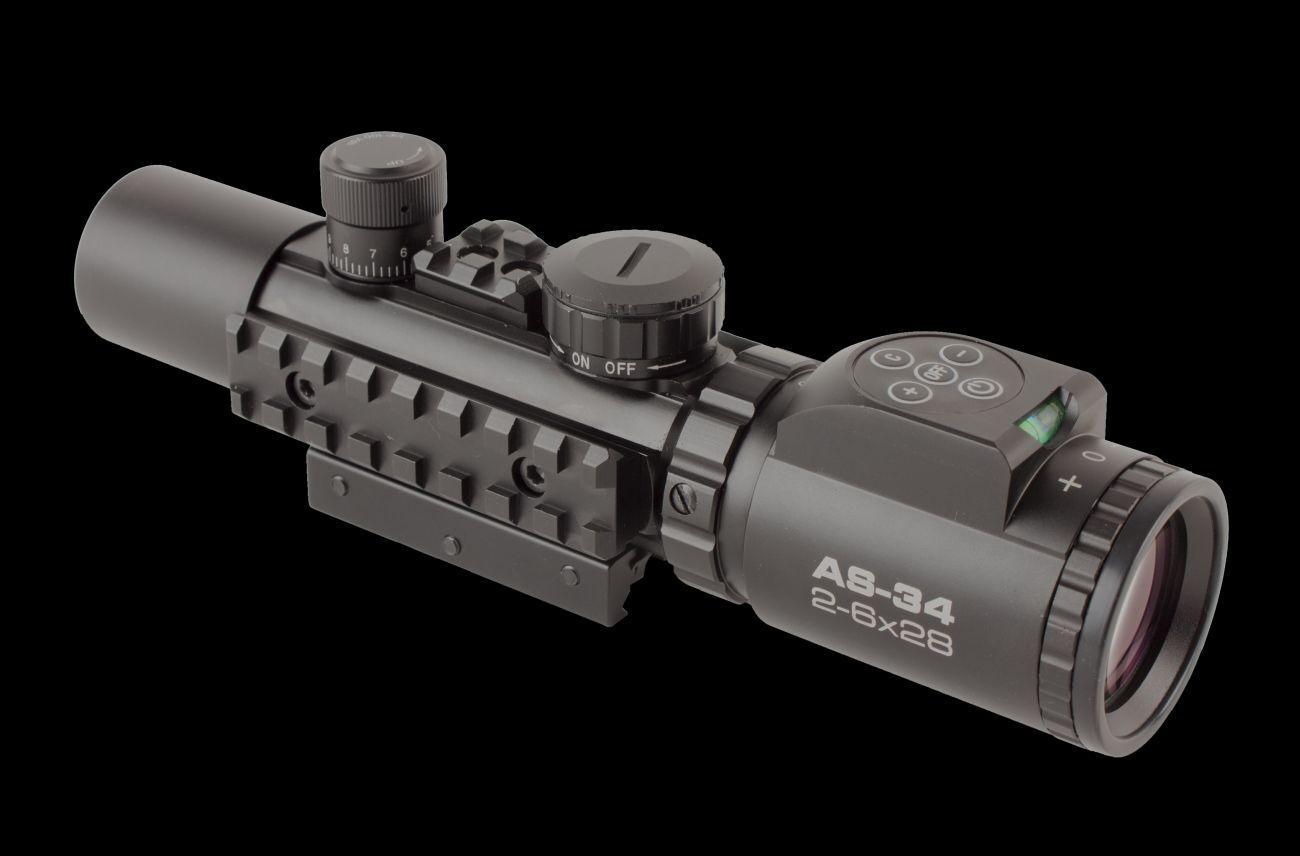Konus Pro AS-34 2-6x28 Tactical Rifle Montaje Iluminada Mil Dot + grabado al agua fuerte