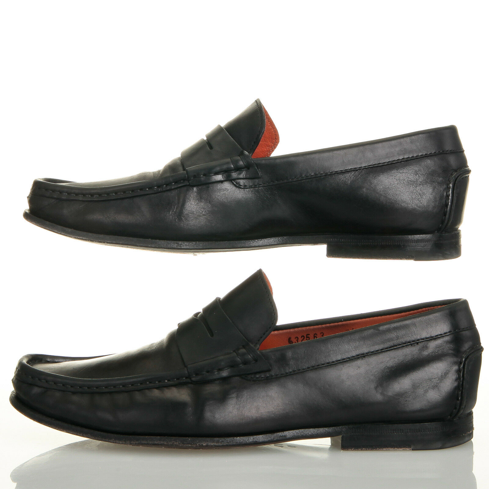 f92ccaacdab ... Santoni Fergus Black Leather Penny Loafers - Mens Mens Mens 7.5 D  1b05b4 ...