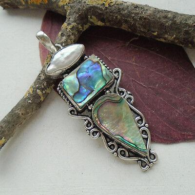 Abalone Muschel & Biwa Perle, weiß, grün, Amulett, Anhänger, Silber plattiert