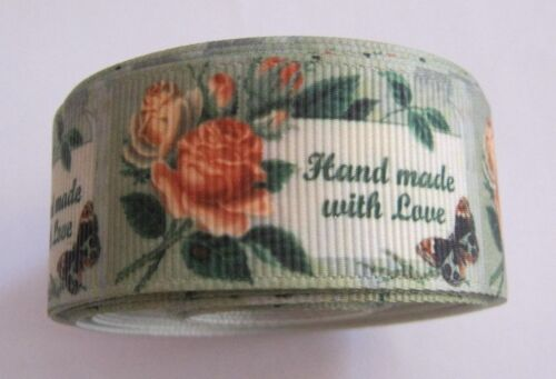 SAGE GREEN WITH ROSE  ***NEW*** Grosgrain Ribbon 25mm wide /& 1 yard length