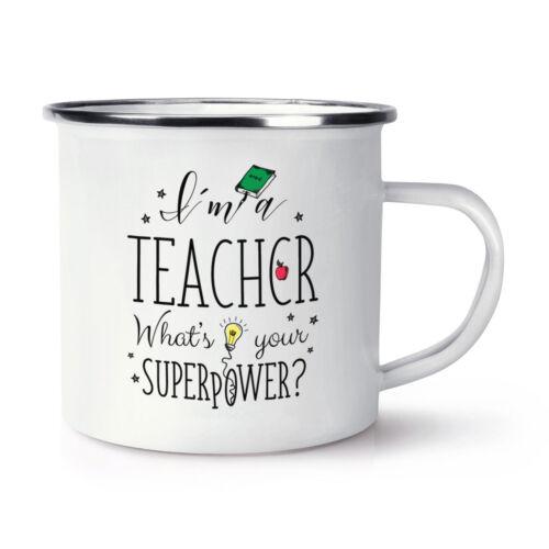Superheld Lustig I/'M A Lehrer Was Your Superpower Retro Emaille Becher Tasse
