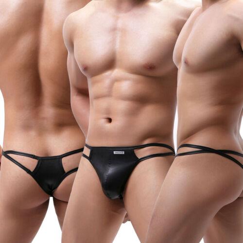 Hommes polyuréthane String G-String Slip d/'athlète Briefs Bikini T-back Aspect Mouillé Sous-vêtements 1//3 Pack