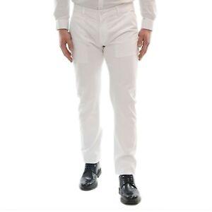 Pantaloni-Uomo-Slim-Fit-Estivi-Cotone-Bianco-Elegante-Chino-Casual-Tasca-America