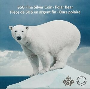 Canada 2014 $50 for $50 Iconic Polar Bear Pure Silver Coin