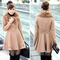 Women Slim Rabbit Fur Collar Warm Winter Woolen Long Jacket Coat Outwear Hot E