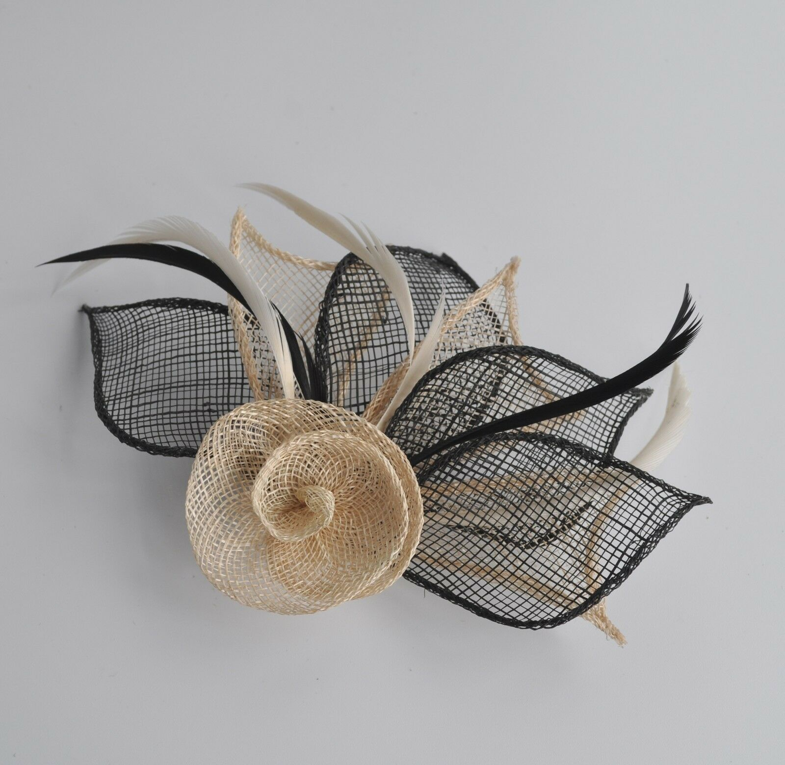 NEW Grey Beige Two coloured hessian net rose with three petal fascinator wedding